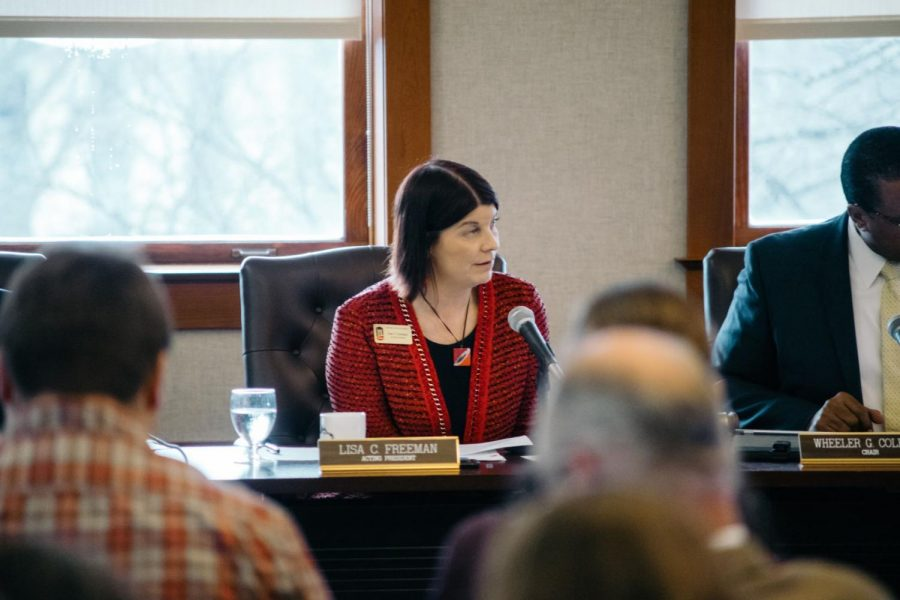 NIU President Lisa Freeman speaks during a Board of Trustee meeting Dec. 11, 2017.