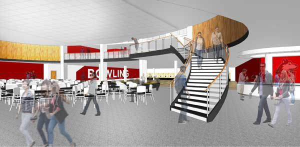 Above is a rendering of the Huskies Den after the proposed renovations have been completed. The renovation would include a staircase to the Black Hawk Cafe and a sports grill.