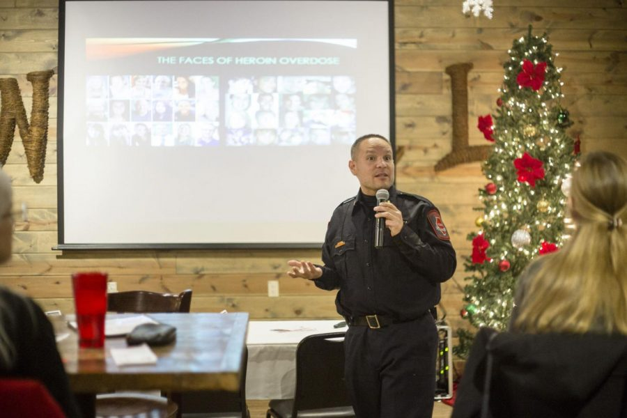 NIU Police commander Joseph Przybyla speaks at a STEM Cafe event Tuesday at Fatty's Pub and Grill, 1312 W. Lincoln Highway, regarding the opioid epidemic impacting the community.