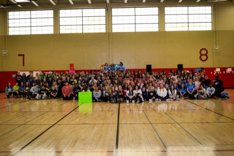 Group photo of all those who attended the eight hour Dance Marathon event on Saturday.