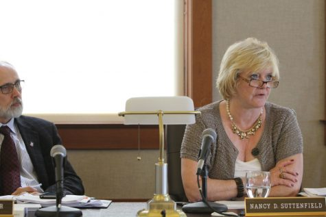 Former CFO Nancy Suttenfield speaks about NIU's budget proposal during a Board of Trustees Finance, Facilities and Operations Committee meeting Sept. 1, 2014, in Altgeld Hall.