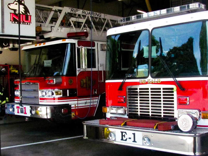 Fire Truck is parked in the garage at the first DeKalb Fire House, 700 Pine St.