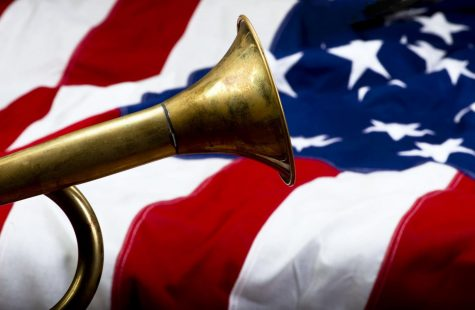 Brass bugle on American flag with room for your type.