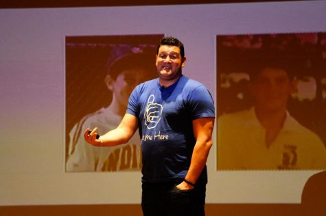 Eric Kussin, the founder of #SameHere Movement talks about his experiences at an event organized by the NIU Counseling and Consultation Services Department on Tuesday in the Duke Ellington Ballroom of the Holmes Student Center.