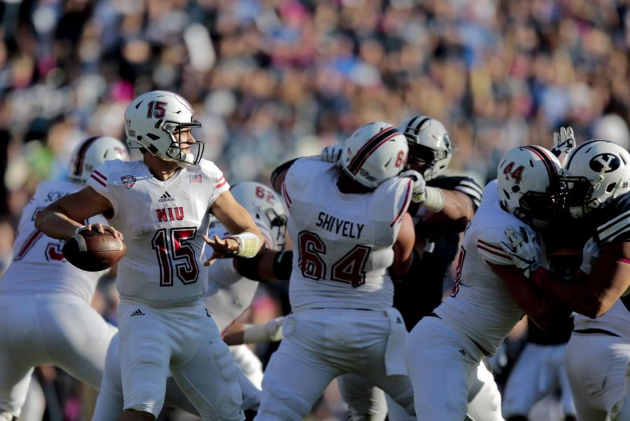 Northern+Illinois+quarterback+Marcus+Childers+%2815%29+makes+a+pass+against+BYU+during+the+second+half+of+an+NCAA+college+football+game%2C+Saturday%2C+Oct.+27%2C+2018%2C+in+Provo%2C+Utah.+%28Evan+Cobb%2FThe+Daily+Herald+via+AP%29