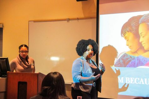 Graduate student Mary Stamps contributed to the conversation Friday during the I Am Because She Is event in the Center for Black Studies.