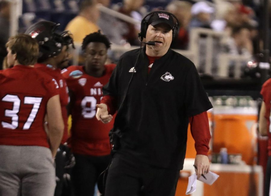 Northern Illinois head coach Rod Carey watches during the second half of the Boca Raton Bowl NCAA college football game against UAB, Tuesday, Dec. 18, 2018, in Boca Raton, Fla. UAB won 37-13. (AP Photo/Lynne Sladky)
