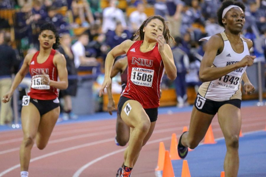 Junior sprinter Neshay Curtis in a race during the 2018 track season