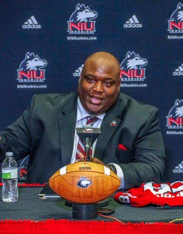 Head Coach Thomas Hammock speaking at Friday's news conference after he was announced as the new head coach