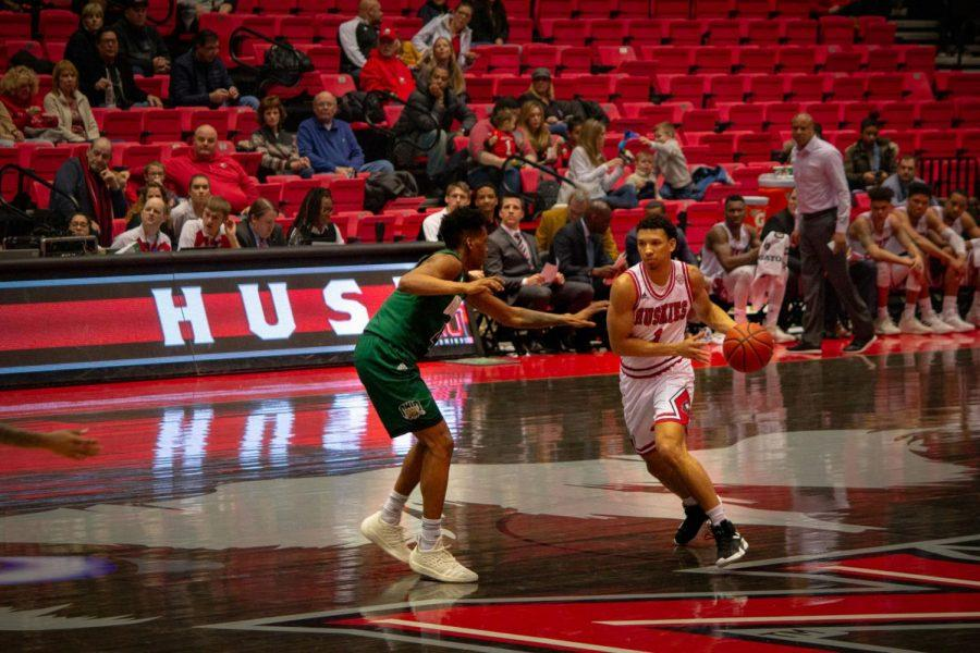 First-year Trendon Hankerson dribbles down the court during the Huskies' 71-60 Jan. 29 victory over the Ohio Bobcats.