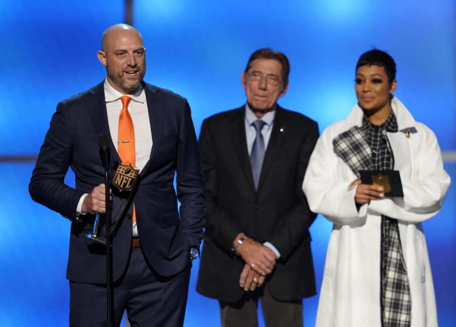 IMAGE DISTRIBUTED FOR THE NFL - Coach of the Chicago Bears Matt Nagy, left, accepts the award for AP coach of the year at the 8th Annual NFL Honors at The Fox Theatre on Saturday, Feb. 2, 2019, in Atlanta. (Photo by Paul Abell/Invision for NFL/AP Images)