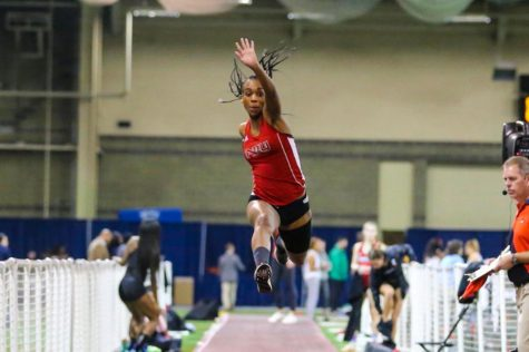 Senior jumper Jehvania Whyte leaps through the air during the Feb. 22 Mid-American Conference Championships. Whyte would win the triple jump title for the second straight year.