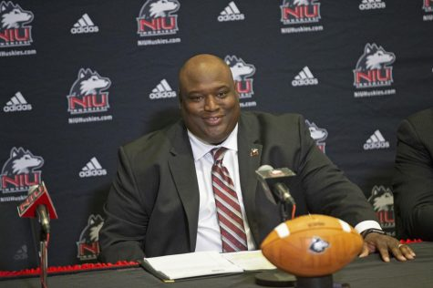 Head Coach Thomas Hammock was welcomed back to NIU during his Jan. 18, 2019 introductory news conference.