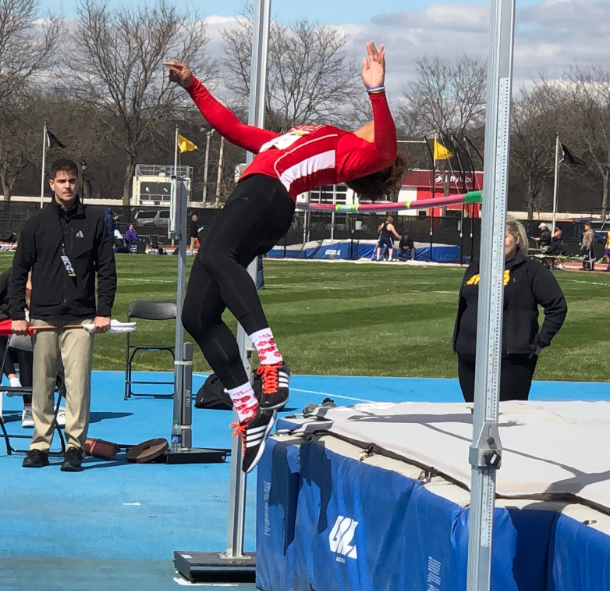 First-year multi-event runner Taylor Ramsey competes in the high jump April 13 at the Musco Twilight meet in Iowa City, Iowa.