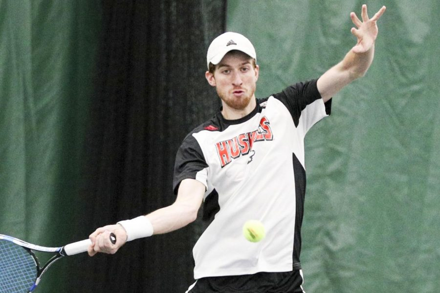 April 27, 2018: during the 2018 Mid-American Men's Tennis Championship between the Buffalo Bulls and Northern Illinois Huskies at the Miller Tennis Center in Amherst, N.Y. (Nicholas T. LoVerde)