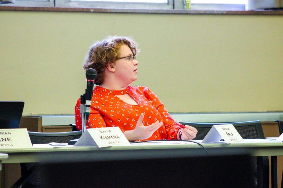 Senator Sabrina Self asks prospective 2019-2020 executive cabinet members questions.
