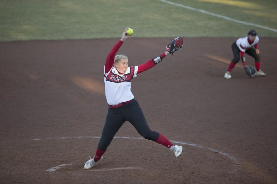 Sophomore pitcher Mackenzie Bryan readies a pitch April 2 during the Huskies' 7-6 victory over the Ball State Univerity Cardinals. NIU would drop the second game of the doubleheader 5-7 to split the conference series.
