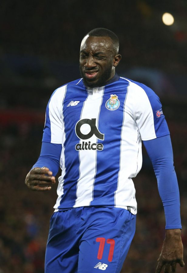 Portos Moussa Marega reacts after failing to score during the Champions League quarterfinal, first leg, soccer match between Liverpool and FC Porto at Anfield Stadium, Liverpool, England, Tuesday April 9, 2019.