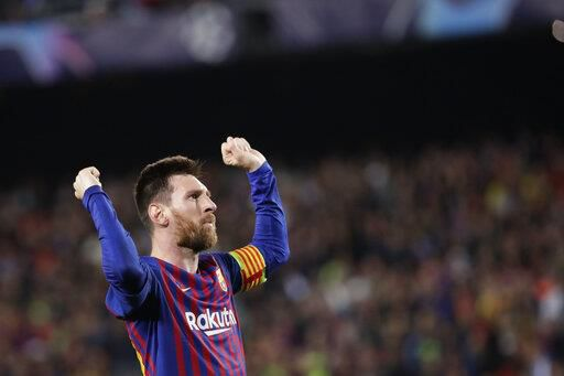 Barcelonas Lionel Messi celebrates after scoring his sides third goal during the Champions League semifinal, first leg, soccer match between FC Barcelona and Liverpool at the Camp Nou stadium in Barcelona, Spain, Wednesday, May 1, 2019. (AP Photo/Emilio Morenatti)