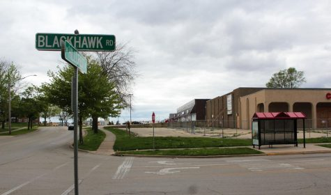 The now-closed campus theater stands May 20 at the corner of Blackhawk Road and West Hillcrest Road.