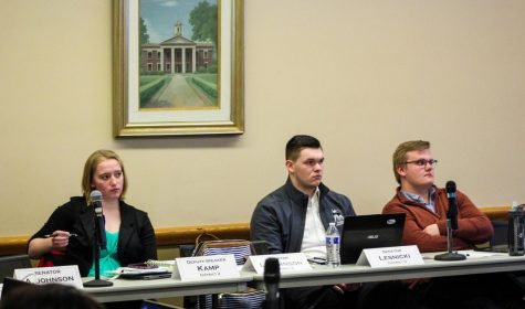 Cassandra Kamp, Deputy Speaker of the Senate, (left), Brandon Lesnicki, Election Commissioner, and Ian Pearson, Speaker-elect, listen to prospective executive cabinet members at the Saturday night Senate meeting.