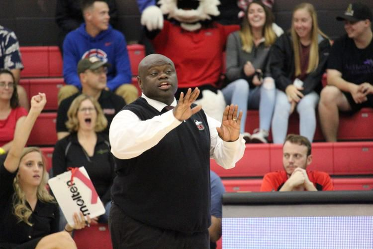 Head Coach Ray Gooden directs his team during the University of Toledo match Sep. 21, 2018.