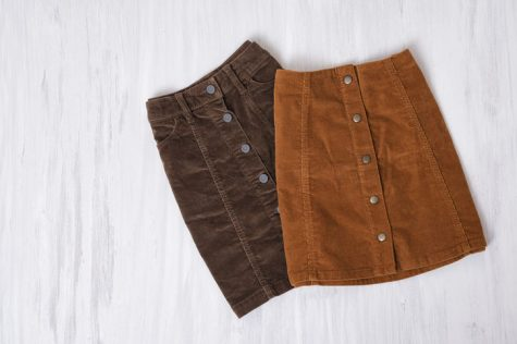 Corduroy is a material common seen in skirts and jackets that is known for its durability.