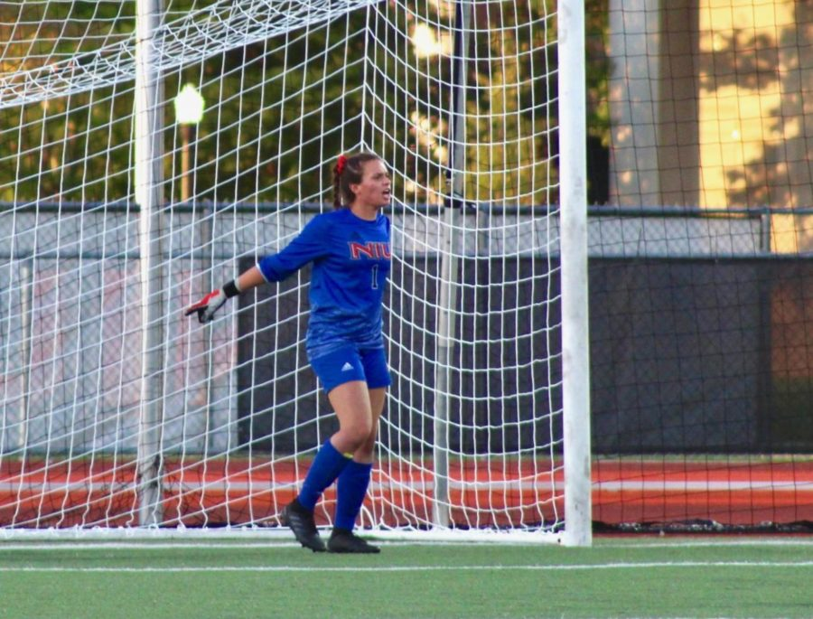 Then-sophomore goalkeeper Julia Lentz posted her first career clean sheet for the Huskies during a match against Western Illinois University in DeKalb.