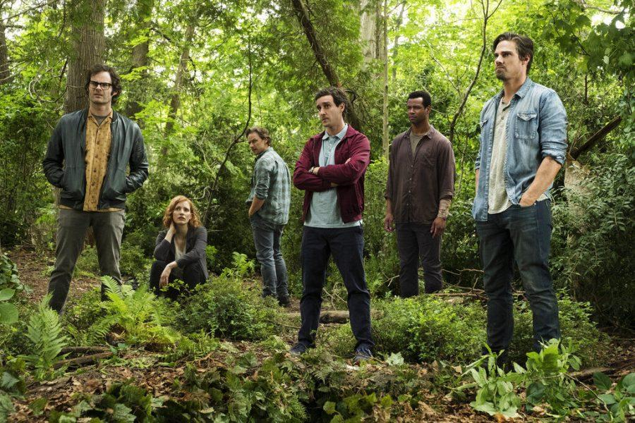 (From Left) Bill Hader, Jessica Chastain, James McAvoy, James Ransone, Isaiah Mustafa and Jay Ryan star in