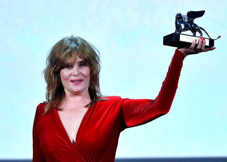 Emmanuelle+Seigner+displays+the+Grand+Jury+Prize+for+%22An+Officer+and+a+Spy%2C%22+directed+by+Roman+Polanski%2C%22+during+the+awarding+ceremony+of+the+Venice+Film+Festival+Sept.+7.+Polanski+did+not+attend+the+festival+so+his+wife%2C+Seigner%2C+accepted+the+award+in+his+place.