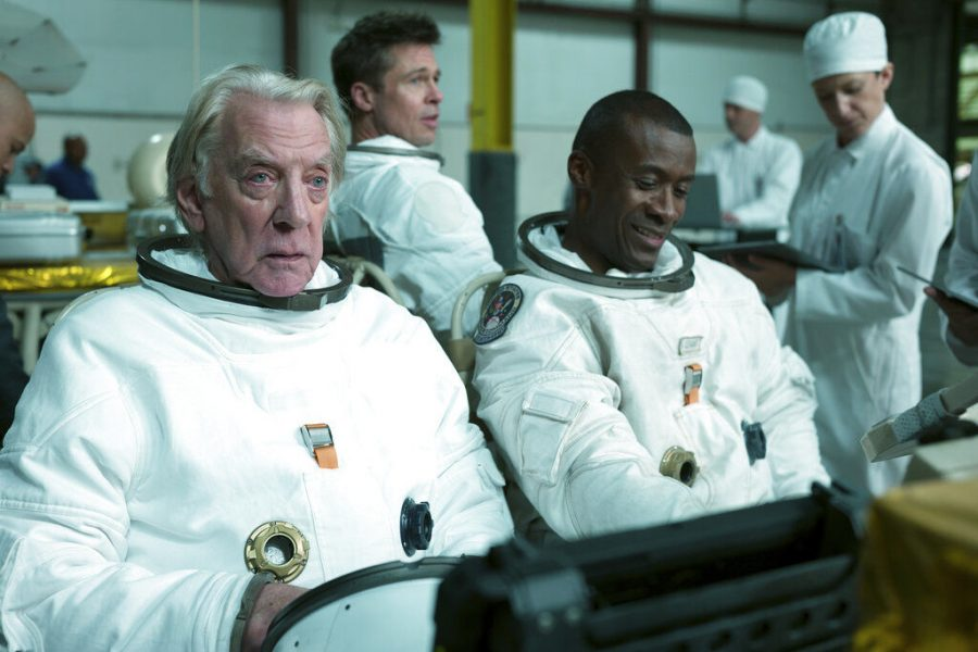 (from left) Donald Sutherland, Brad Pitt and Sean Blakemore star in