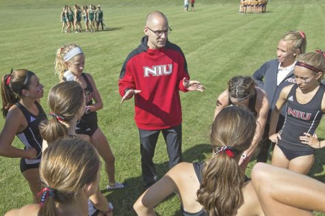 NIU cross country Head Coach Adrian A. Meyers talks to his team in this 2019 file photo.