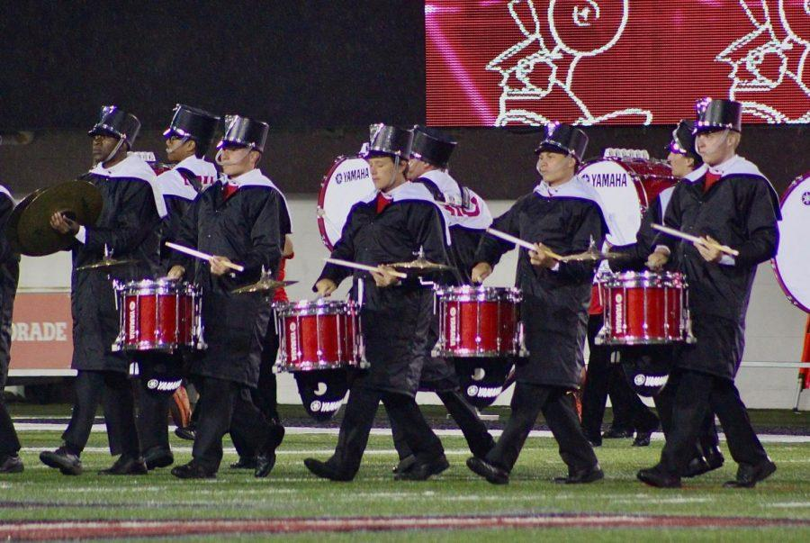 The Huskie Marching Band performs at halftime of the NIU/ISU Football Game in 2019 at Huskie Stadium.