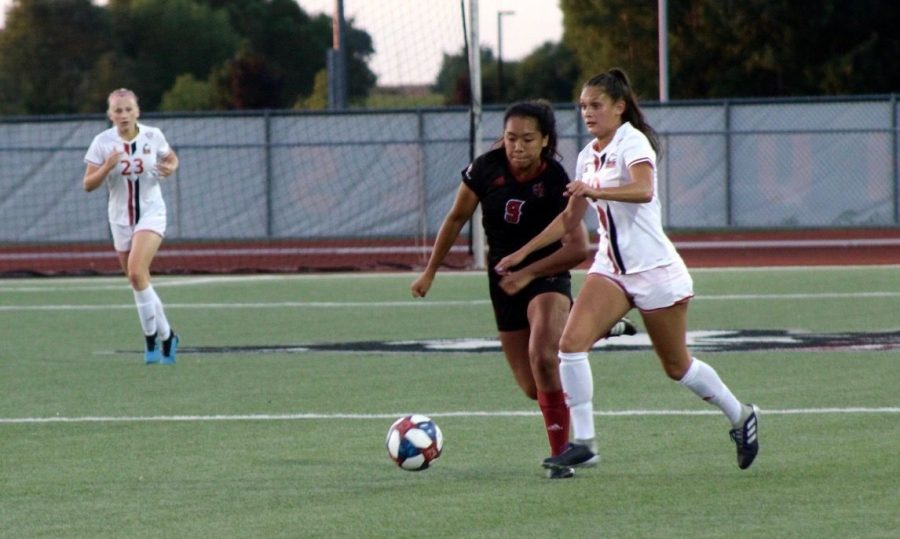 Senior forward Kyleigh Dominguez dribbles Aug. 30 past an opponent in a 4-4 double-overtime tie against University of Louisiana - Lafayette.