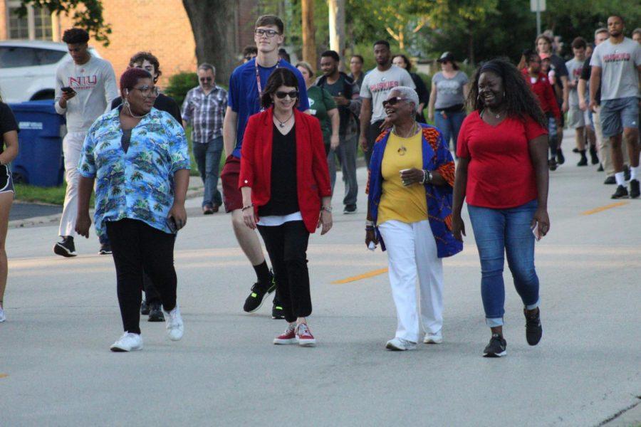 President Lisa Freeman walks with the DeKalb community Tuesday at the Unity Walk.