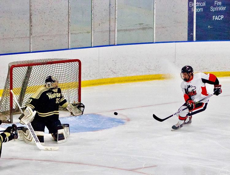 First-year forward Nick Gonzalez seconds before opening the score Friday in a 3-2 loss against Western Michigan University at the Canlan Ice Center in West Dundee.