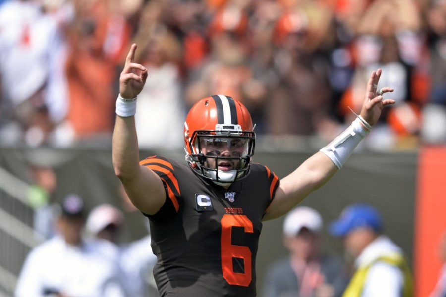 Cleveland Browns quarterback Baker Mayfield celebrates after a 4-yard touchdown pass to Dontrell Hilliard during the first half in an NFL football game against the Tennessee Titans, Sunday, Sept. 8, 2019, in Cleveland. (AP Photo/David Richard)