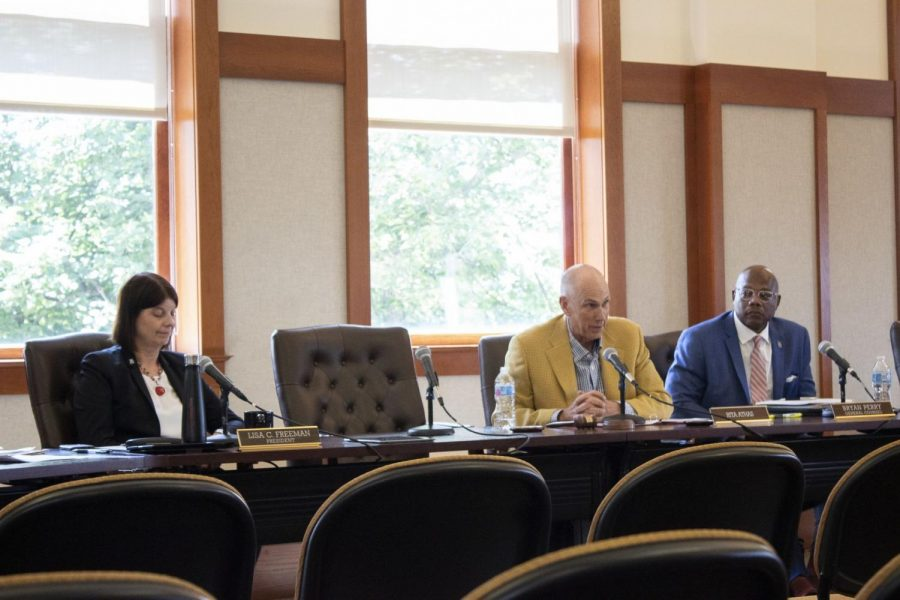 In this file photo from Aug. 22, Chairperson Dennis Barsema responds to public comments at a Board of Trustees meeting.