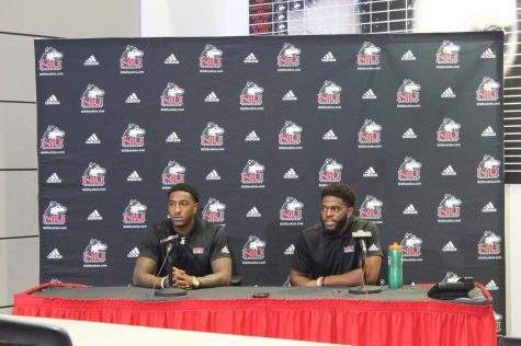 Spencer Tears (left), redshirt senior wide receiver, and redshirt senior safety Mykelti Williams address media Tuesday during a press conference.
