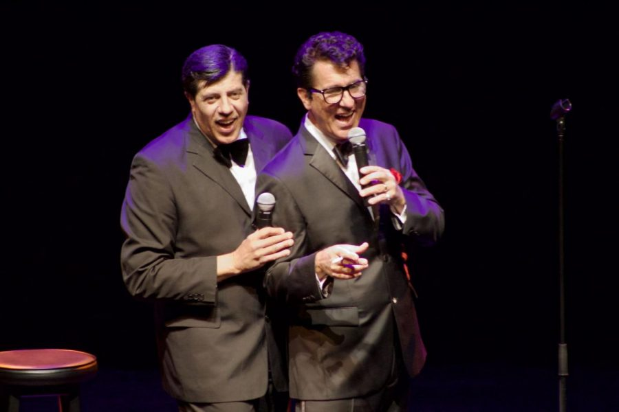 Tony Lewis (left) and Tom Stevens performed at the Egyptian Theatre, 135 N. Second St., as comedian Jerry Lewis and singer Dean Martin Friday.