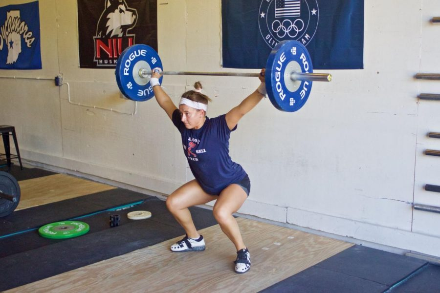 Riley Stefan,Exercise Physiology graduate student, Sept. 18 during her training at Prairie State Barbell,328 Dietz Ave.