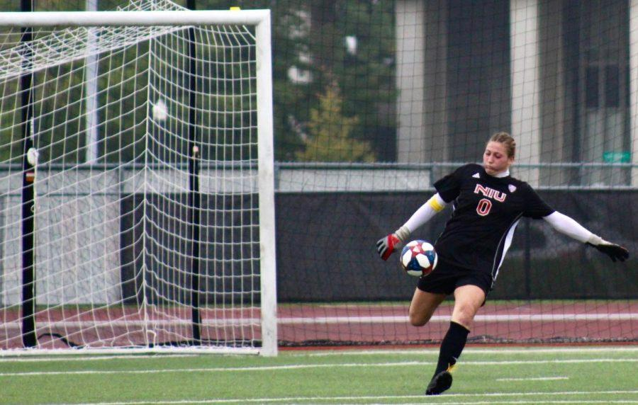 Then-junior+goalkeeper+Megan+Donnally+swings+her+leg+on+a+punt+Sept.+29%2C+2019%2C+during+an+eventual+1-0+loss+to+Kent+State+University+at+the+Soccer+and+Track+and+Field+Complex+in+DeKalb.