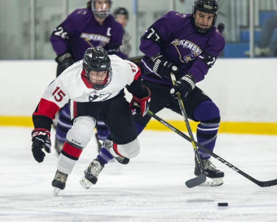 First-year forward Mason Ihrke fights off an opponent for the puck Nov. 11 against McKendree University at Canlan Ice Sports in West Dundee.