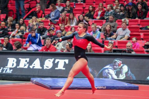 Senior Amanda Bartemio performs a routine Feb. 27 during The Beauty and The Beast Meet held at the Convocation Center.