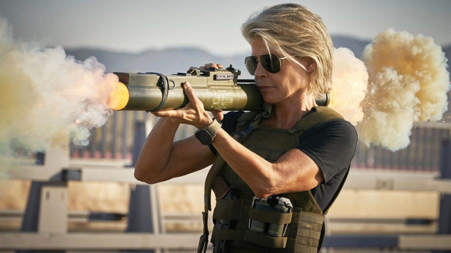 Linda+Hamilton+reprises+her+role+as+Sarah+Conner+in+%22Terminator%3A+Dark+Fate%22+as+a+hunter+of+the+evil+Terminators.
