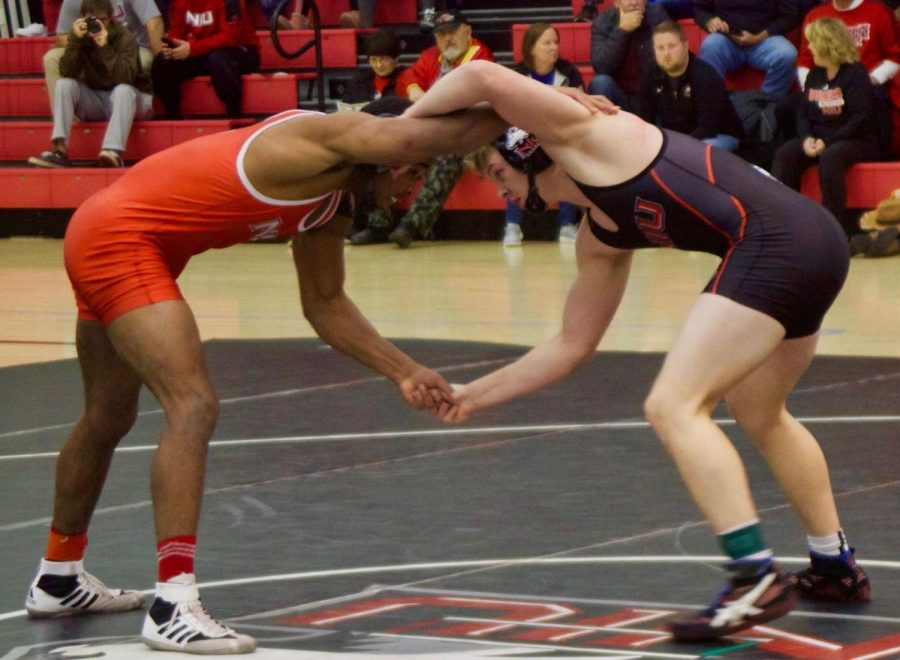 Two+Huskie+wrestlers+face+off+Oct.+24+during+NIU%27s+Red+Black+Dual+at+the+Convocation+Center.%C2%A0
