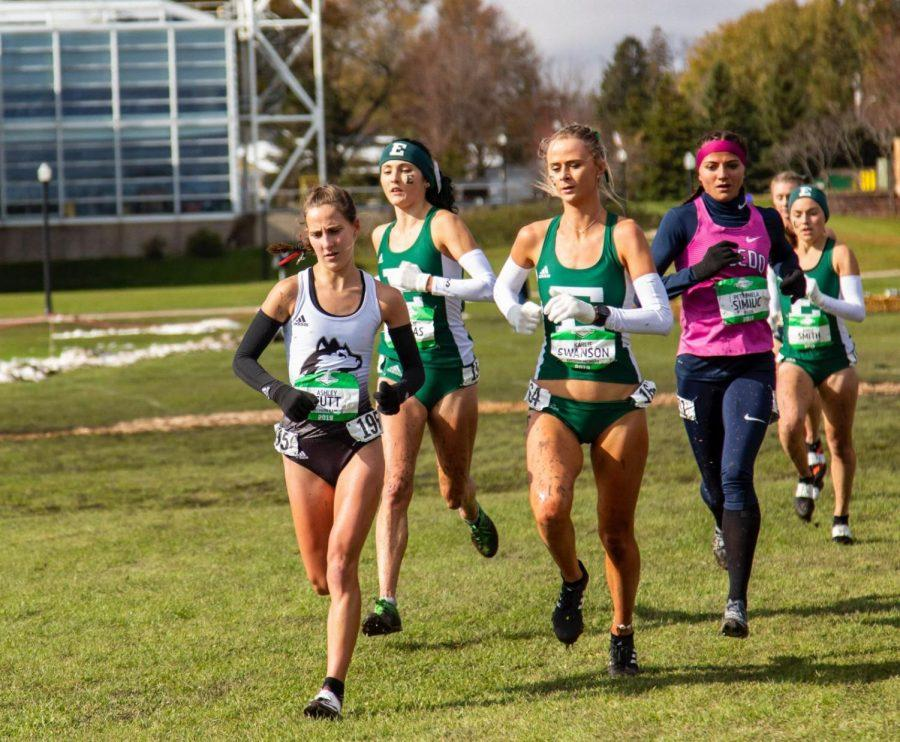 Junior Ashley Tutt leads the pack Nov. 2 during the 2019 Mid-American Conference Championships hosted by NIU at the North 40 course.