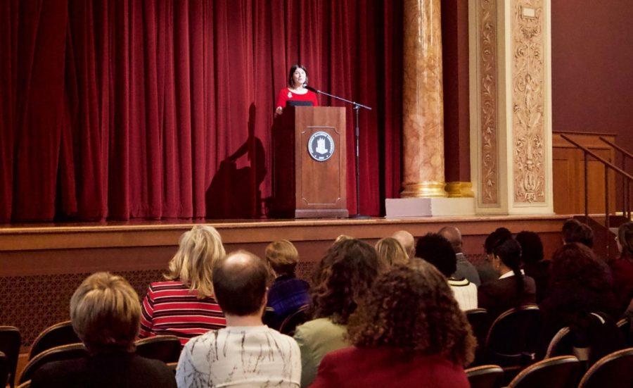NIU+President+Lisa+Freeman+speaks+about+the+Huskie+Pledge+Tuesday+at+Altgeld+Auditorium.