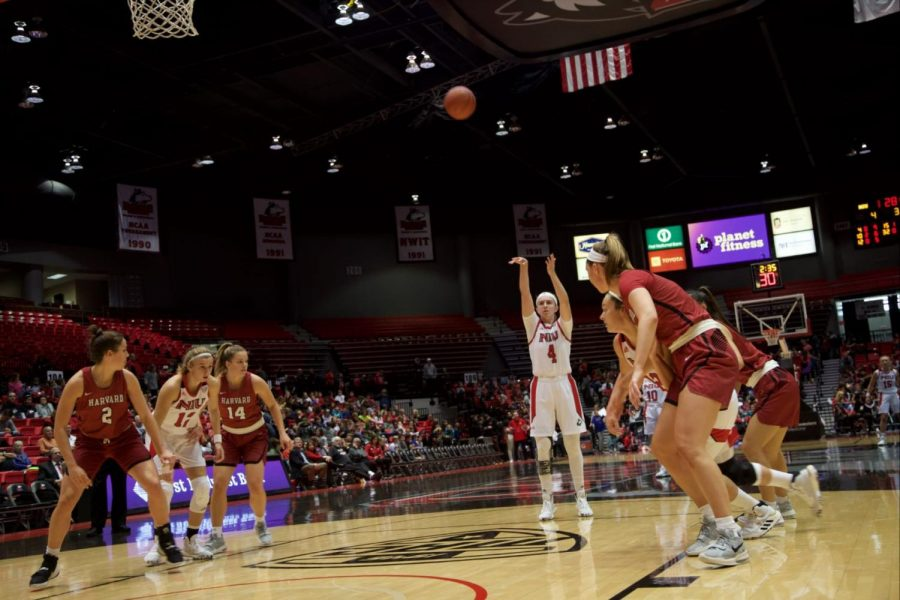 Redshirt senior forward Courtney Woods follows through on a free-throw attempt Nov. 5 against Harvard University at the Convocation Center.