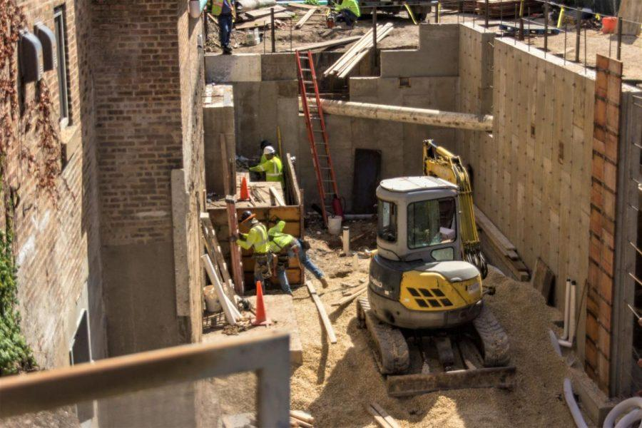 A construction crew works on expanding the basement, concession stand and bathrooms of the Egyptian Theatre, 135 N. Second St., in September 2019. The theater has been under construction since May.